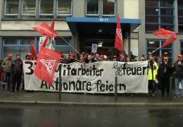 Demonstration gegen Stellenabbau