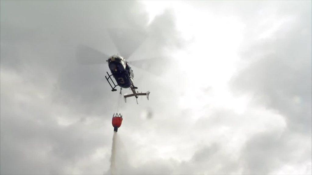 Waldbrand-Übung von Polizei und Feuerwehr