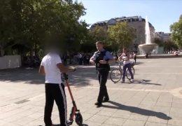 Polizei kontrolliert E-Scooter Fahrer in Frankfurt