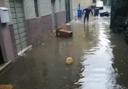 Überschwemmte Straßen in Weilburg