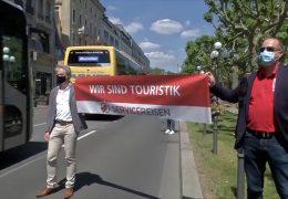 Busunternehmer protestieren mit Hupkonzert in Mainz